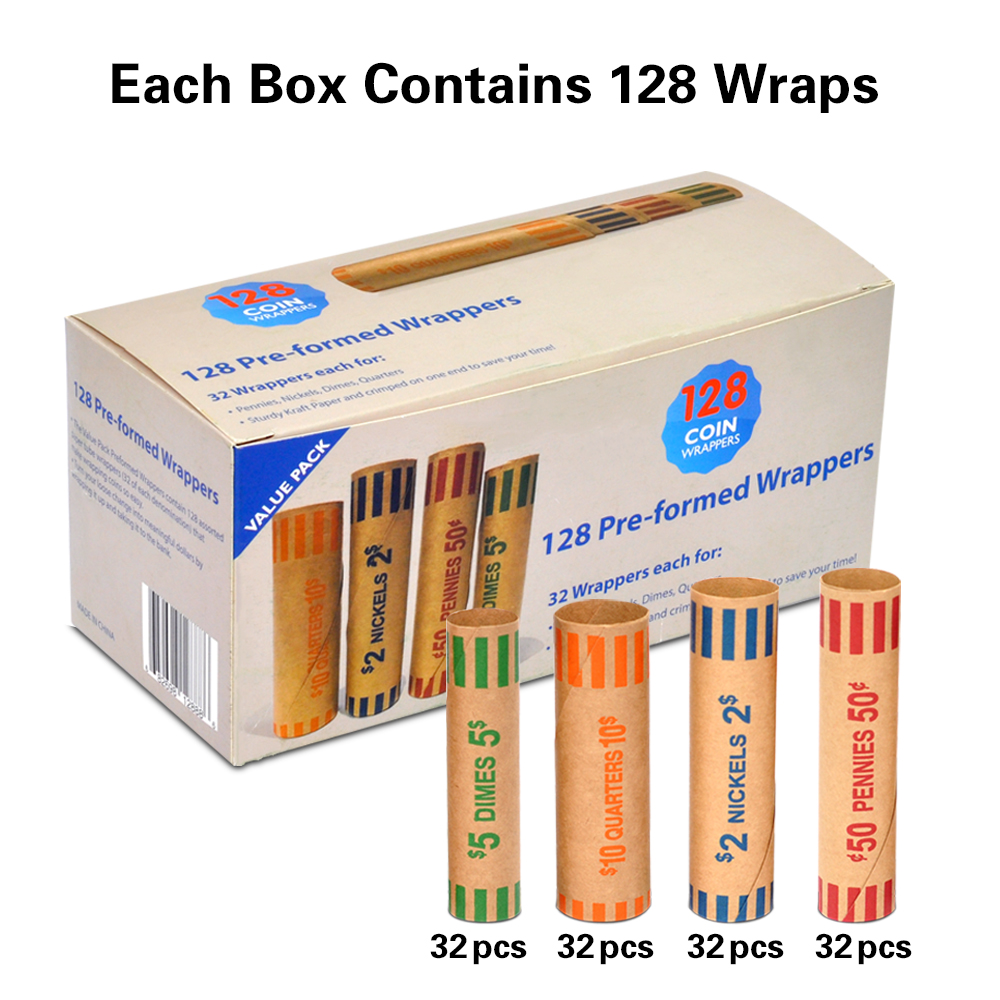 Easy Fill Assorted Coin Wrappers Pre formed Paper Tubes for Penny  Nickel  Dime  and Quarter  Each Coin 32 Wrappers  128 per box|Home Office Storage| |  - title=