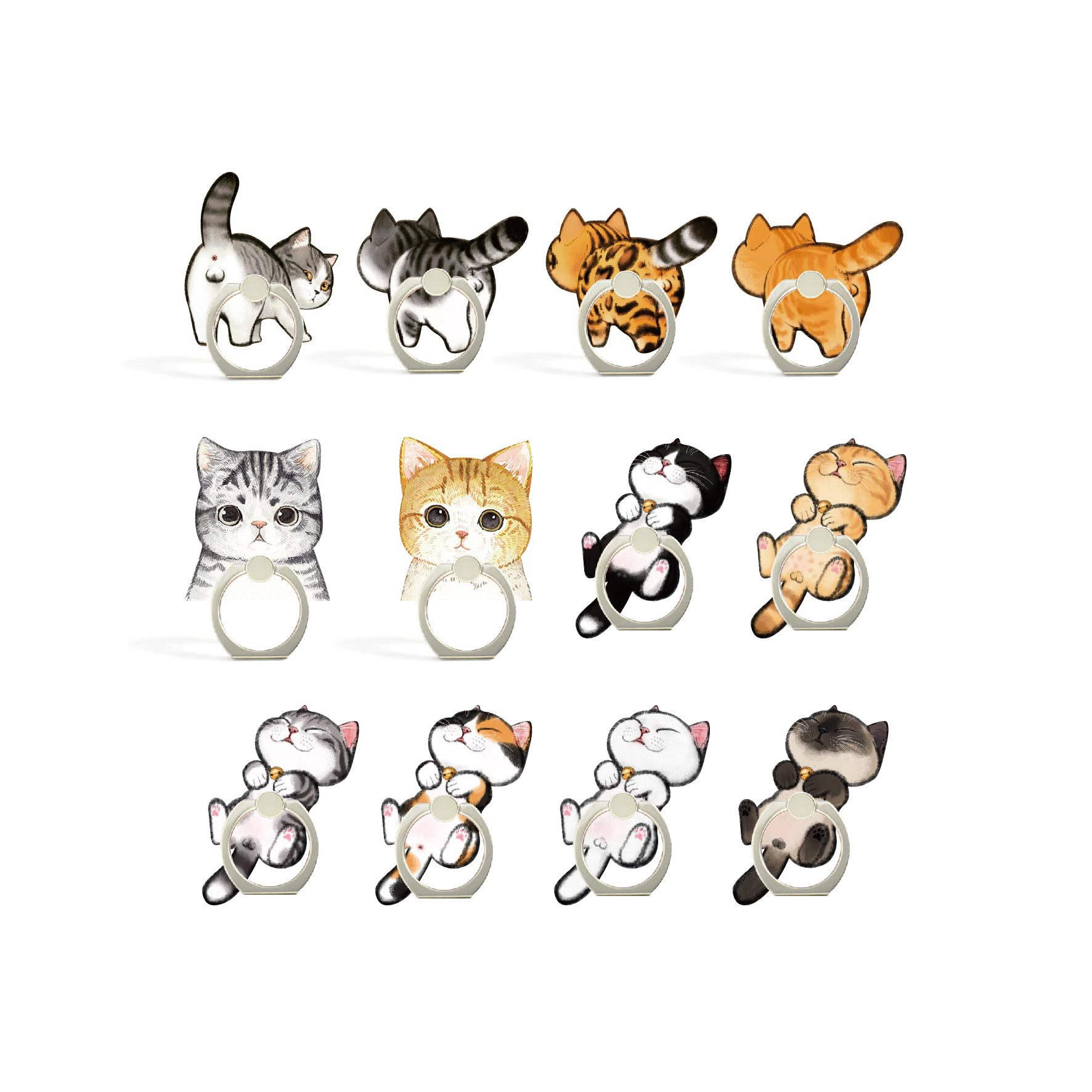UVR 360 Degree Cartoon Cat Finger Ring Smartphone Stand Holder Mobile Phone Holder For IPhone Huawei All Phone