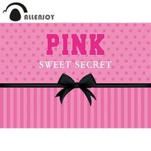 Allenjoy 생일 비밀 핑크 달콤한 16 배경 소녀 줄무늬 Bowknot 폴카 도트 파티 공주 Photophone 배경 배너