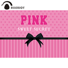 Allenjoy Geburtstag Geheimnis Rosa Süße 16 Hintergrund für Mädchen Streifen Bowknot Tupfen Party Prinzessin Photophone Hintergrund Banner
