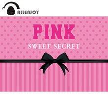 AllenjoyวันเกิดSecretสีชมพูหวาน16ฉากหลังสำหรับสาวStripes Bowknot Polka Dots Partyเจ้าหญิงPhotophoneพื้นหลังแบนเนอร์