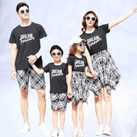 Summer family matching clothes mommy and me clothes plaid mother daughter dressesmom mum baby dress clothing family outfit