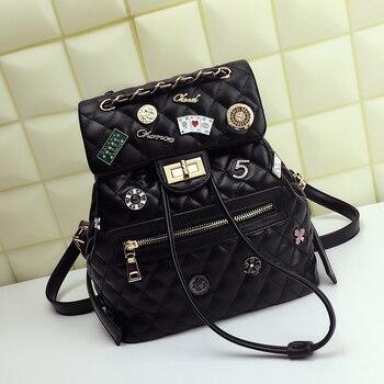 Women Bags Leather Embroidery Backpack Girl Schoolbag Student Bag Travel Bag Brand Style Handicraft Design Art Cartoon CC-5