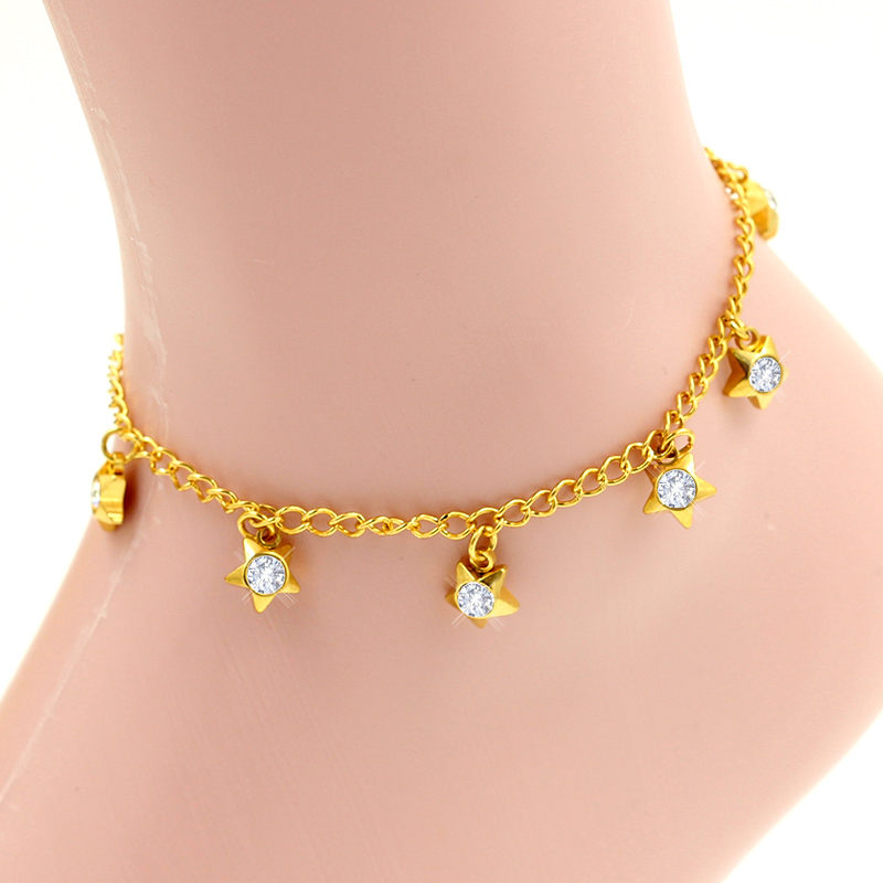 Vintage gold vacuum plated star charm chain pure shiny crystal, stainless steel bracelet anklet for women