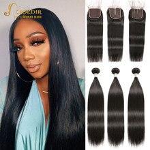 Joedir – tissage en lot péruvien Non Remy, cheveux naturels lisses, avec Lace Closure, pour femmes noires