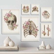 Crânio coluna médica impressão em tela pintura em tela floral ossos esqueléticos anatomia cartaz imagem abstrata clínica decoração de casa