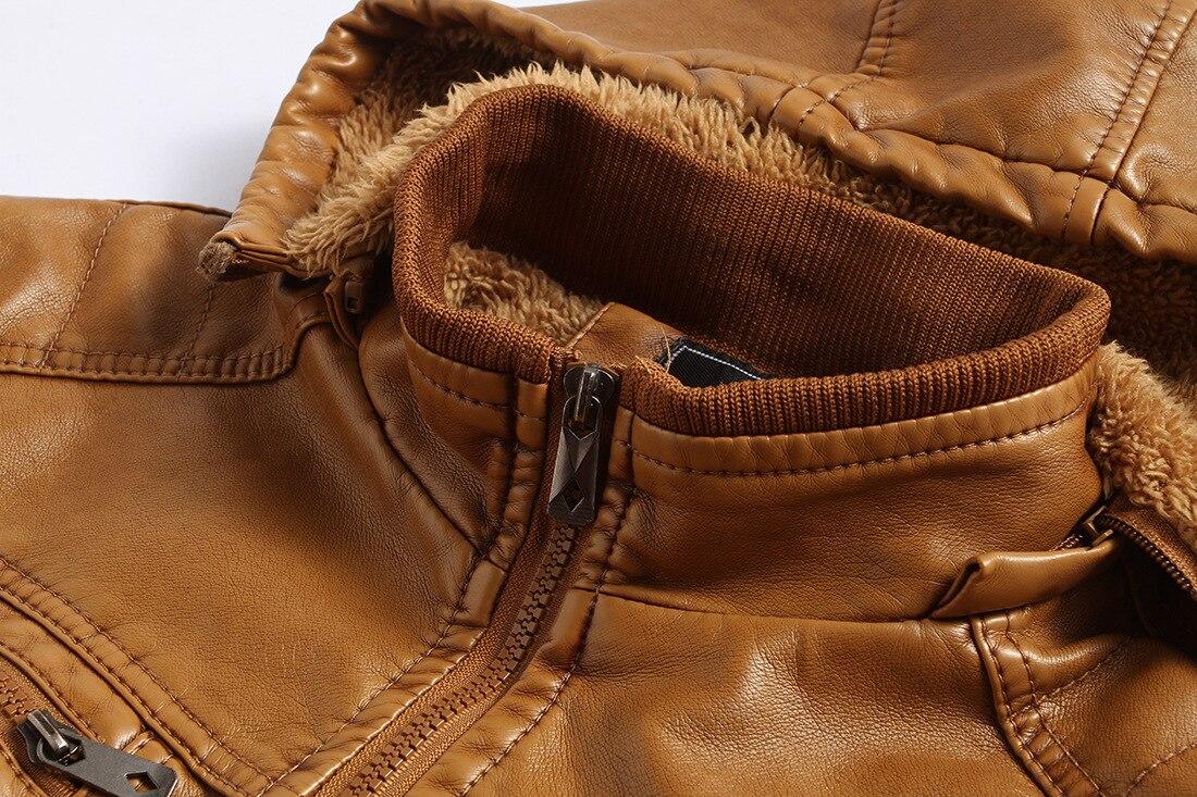 Leather Jacket Men's Hooded Warm Winter Leather Jacket's Coats