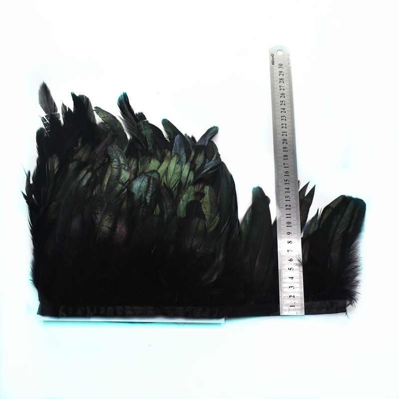 1 Đồng Hồ Tự Nhiên Gà Trống Lông Viền Tua Rua Cho Thủ Công Plumas 13-18Cm Lông Màu Đen Nơ DIY May Quần Áo trang Trí Tiệc