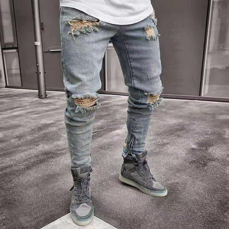 Men Jeans Stylish Ripped Jeans Pants Biker Skinny Slim Straight Frayed Denim Trousers New Fashion Skinny Jeans Men Clothes