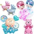 Детские День рождения воздушные шары для маленьких мальчиков и девочек Фольга шар 4D медведь баллон гелия во-первых 1st День рождения Baby Shower у...