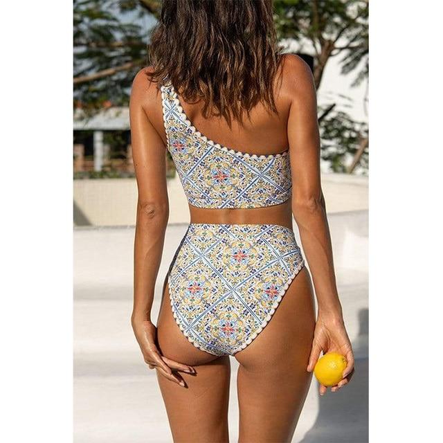 MYTENG Sexy Irregular One Shoulder Swimsuit Women Bikinis High Wais Bathing Suit Summer Vintage Print Swimwear Beachwear Biqiuni 5