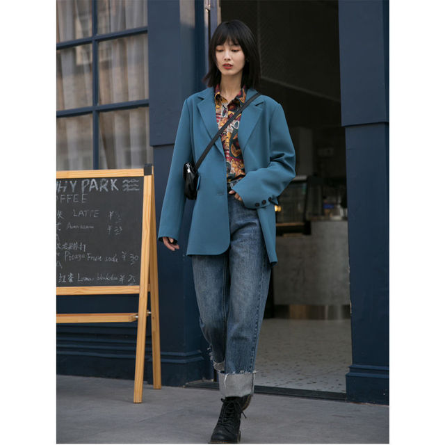 New Autumn Suit Jacket Female Spring And Blue Double-breasted Casual Temperament Ins Slim Black Suits Coats 4