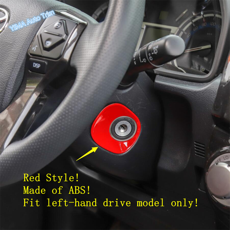 Lapetus Auto Styling Key Engine Start Ignition Button Ring Cover Trim Fit For Toyota <font><b>4Runner</b></font> <font><b>2010</b></font> - 2019 ABS Red / Carbon Fiber image