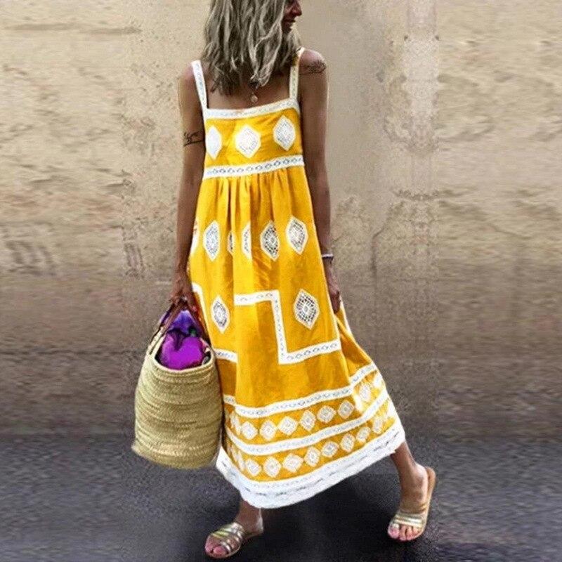2020 Summer Dress Women Vintage Sleeveless Floral Printed Long Dress Casual Cotton Linen Sundress Baggy Beach Dresses