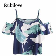 Rubilove Fashion Bohemian Floral Print Blouse Womens Summer Sexy Off Shoulder Tops Ladies Short Sleeve Casual Chiffon Shirts Bl