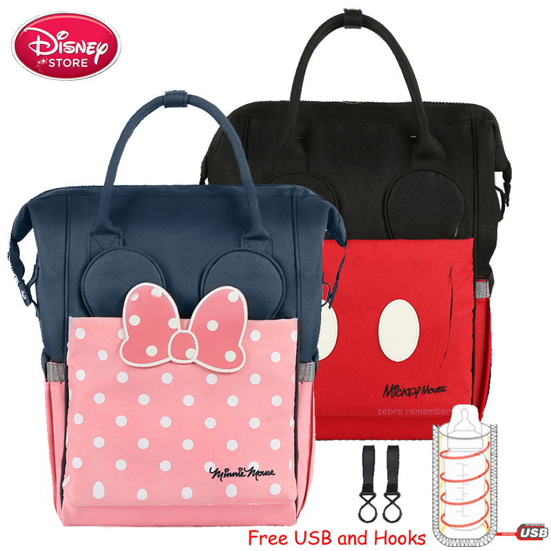Disney Mummy Diaper Bags USB Heating Insulation Bottle Mom Bag For Baby Care Travel Backpack Handbag Stroller Bag