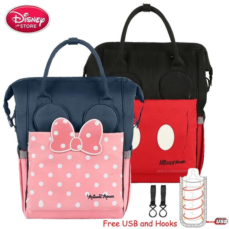Disney momie sacs à couches USB chauffage isolation bouteille maman sac pour soins de bébé voyage sac à dos sac à main poussette sac