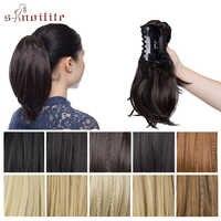 """S-noilite 11 """"pince de queue de cheval griffe synthétique femmes en queue de poney Extensions de cheveux droite postiche bricolage Style poney extensions de cheveux"""