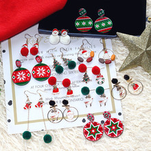Christmas Santa Clause Tree Elk Snow Flake Bell Hair Ball Dangle Drop Earrings Fall Winter Korean Fashion Jewelry-BYF elk santa clause pullover christmas hoodie