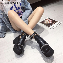 Купить с кэшбэком GBHHYNLH cowboy boots for womens boots heels fall Boots Thick High Heels fall shoes Punk Boots for Women goth boots LJA859