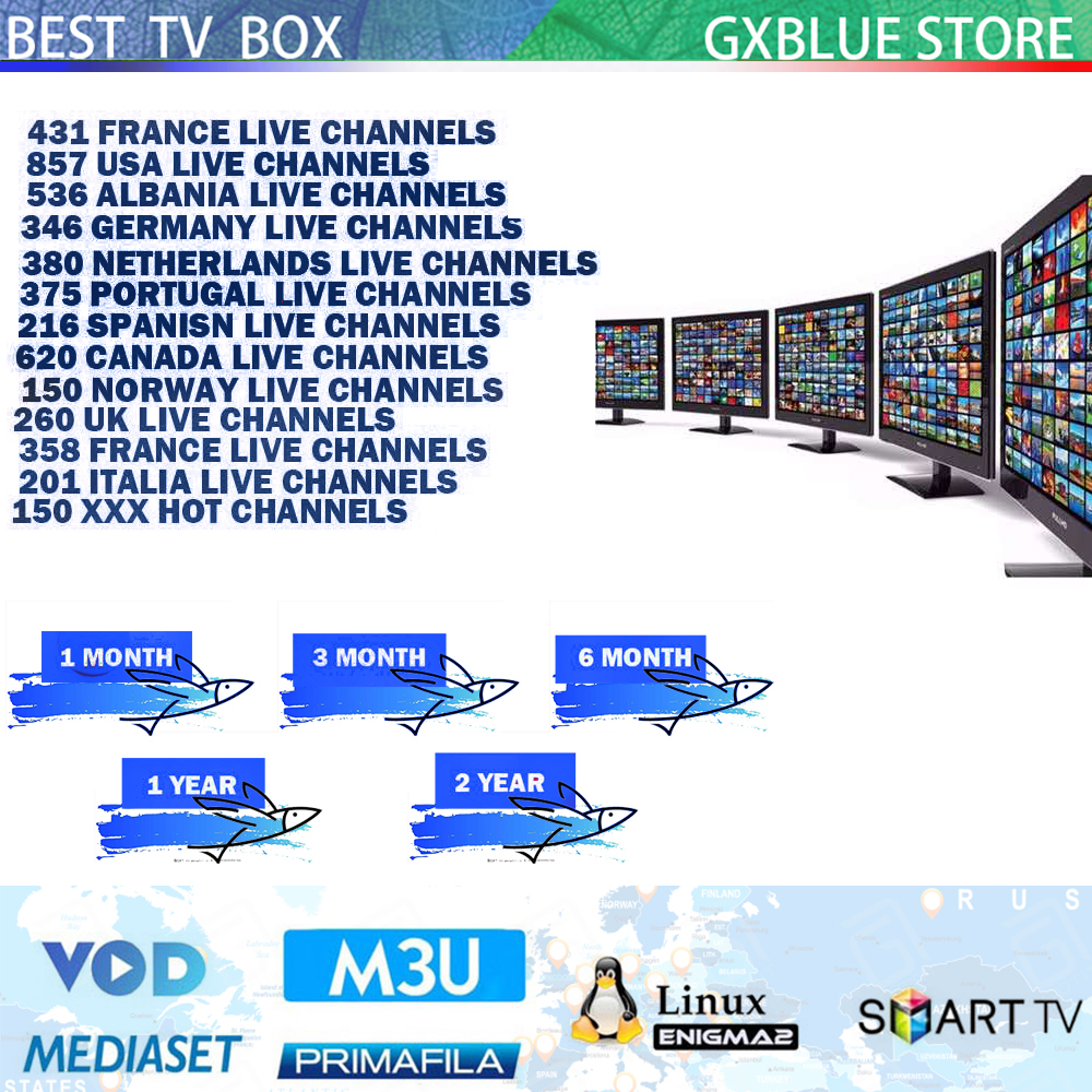 GXBLUE European 9000Channels IPTV Subscription France Netherlands Portugal Albania UK Canada Adult IPTV M3U Smart Android TV Box