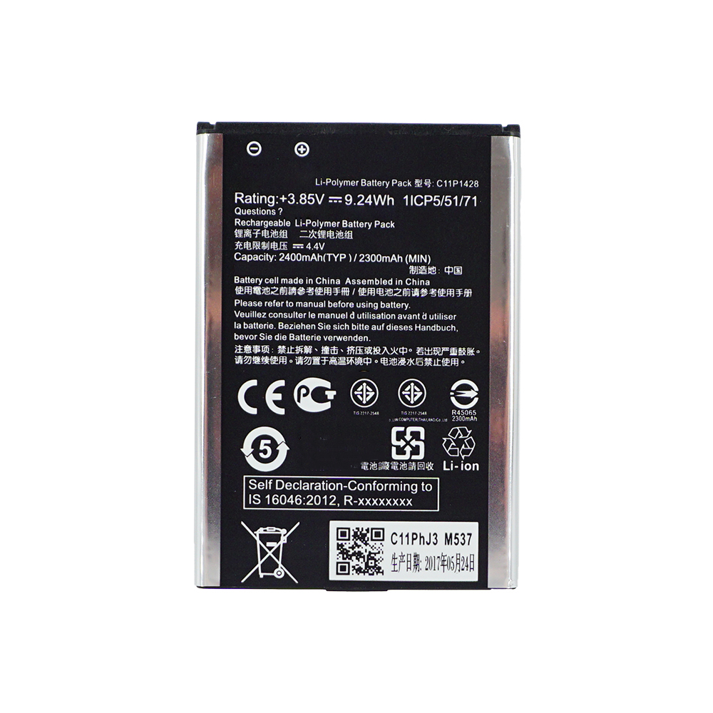 1x 2400mAh / 9.24Wh C11P1428 Replacement <font><b>Battery</b></font> <font><b>For</b></font> <font><b>Asus</b></font> <font><b>Zenfone</b></font> <font><b>2</b></font> Zenfone2 <font><b>Laser</b></font> ZE500KG <font><b>ZE500KL</b></font> image