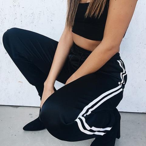Hot Sale Fashion Leggings Sweat Wear Plus Size S-XL Women Joggers Casual Loose Side Striped Long Pants Sweatpants Trousers Pakistan