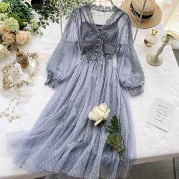 FTLZZ Sweet Tulle Long Dress Spring Summer High Waist Long Sleeve V Neck Polka Dot Bohemian Dress Female Slim Fairy Dresses 1