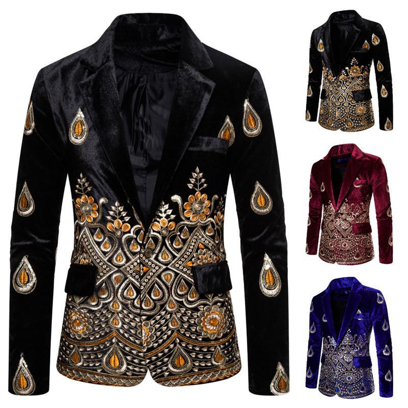Men's Blazer Jacket Suit Velvet One Button Men's Gold Thread Embroidered Dress Suits For Men Costume Unique Luxury