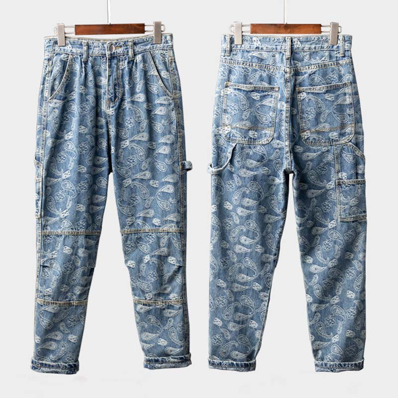 Mcikkny Men Hip Hop Printed Jeans Pants Fashion Loose Casual Denim Trousers Couples Streetwear Pants (2)
