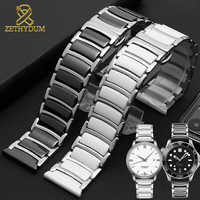 Mode Keramik armband in edelstahl armband 16 18mm 20mm 22mm uhr strap frauen mann armbanduhren band schmetterling schnalle