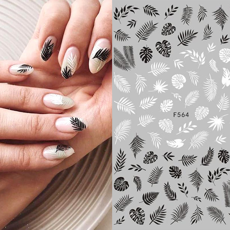 Black White 3D Nail Art Stickers Sliders Flowers Leaves Geometry Adhesive Nail Art Decals Decorations DIY Design Accessories