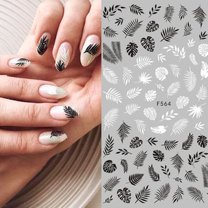 Black White 3D Nail Art Stickers Sliders Flowers Leaves Geometry Adhesive Nail Art Decals Decorations DIY Design Accessories(China)
