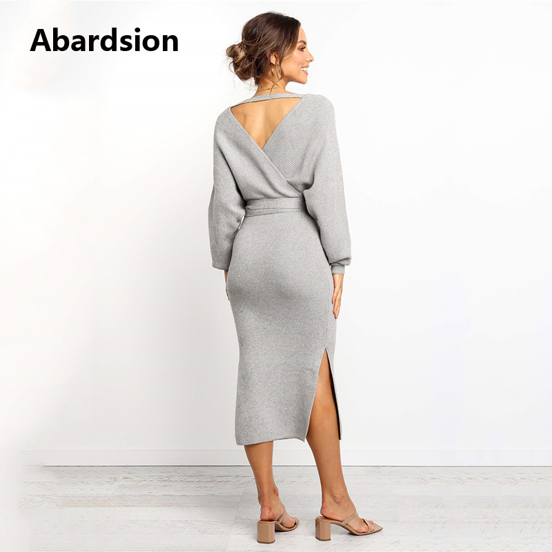 Abardsion Women Knitted Sweater Dress Wrap Belted Tunic Midi Vestidos Long Sleeve Double V Neck Split Casual Autumn Dresses 19 5
