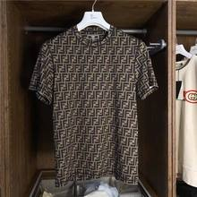 2021 Summer Fashion Letter Full Print Stripe Men's Short Sleeve Round Neck Loose Casual T-shirt for Lovers