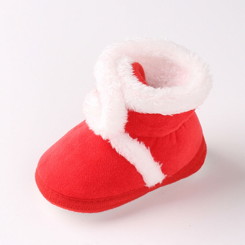 Christmas Snow Boots Winter Sweet Newborn Baby Girls Princess Winter Booties Soft Soled Infant Toddler Kids Girl Footwear Shoes