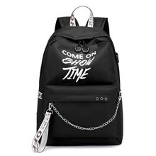 School Bag Travel Waterproof Laptop Backpack Luminous Lyrics Print Charger USB цена 2017