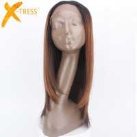 Perruque longue en dentelle synthétique droite pour femmes noires haute température fibre cheveux Ombre couleur marron perruque dentelle partie gratuite