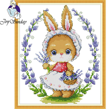 Joy Sunday,Rabbit,cross stitch embroidery kit,Cartoon cross pattern,cross needlework,Animal pattern