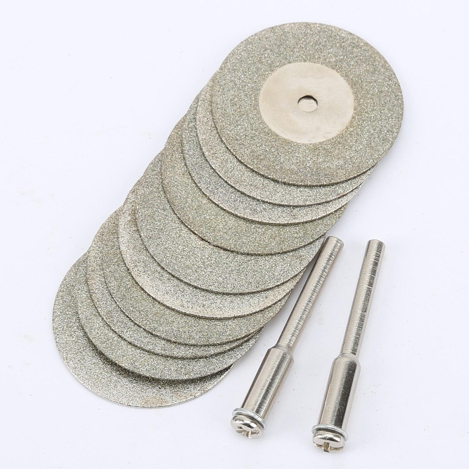 10 шт./компл. 30 мм алмазные режущие диски + 2 зубчатых вала отсечка лезвия сверла Dremel аксессуары роторный инструмент абразивный резной металл