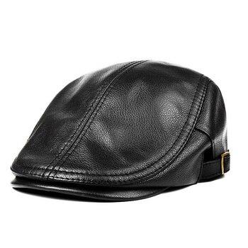 Hats Men Women Street Bonnet Genuine Leather Beret Male Thin Hats 55-61 cm Adjustable Forward Cap Leisure Duckbill Casquette 3