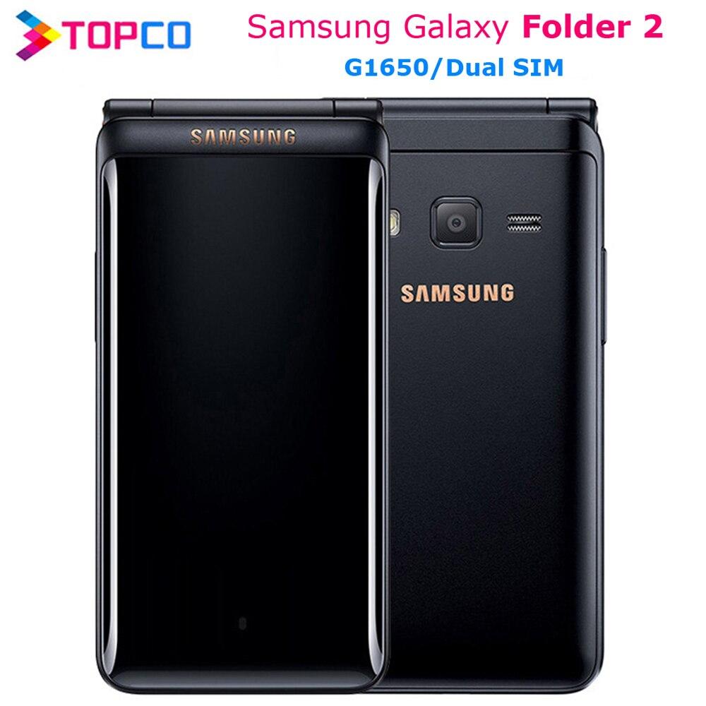 """원래 삼성 갤럭시 폴더 2 G1650 듀얼 SIM 16 기가 바이트 ROM 2 기가 바이트 RAM 쿼드 코어 8.0MP 3.8 """"플립 스마트 폰 4G LTE 휴대 전화"""