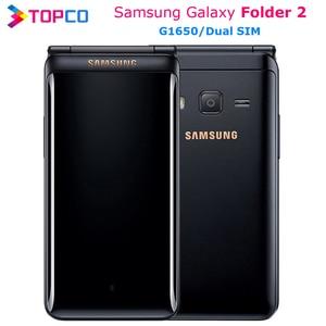 "Original Samsung Galaxy Folder 2 G1650 Dual SIM 16GB ROM 2GB RAM Quad Core 8.0MP 3.8"" Flip SmartPhone 4G LTE Mobile Phone(China)"