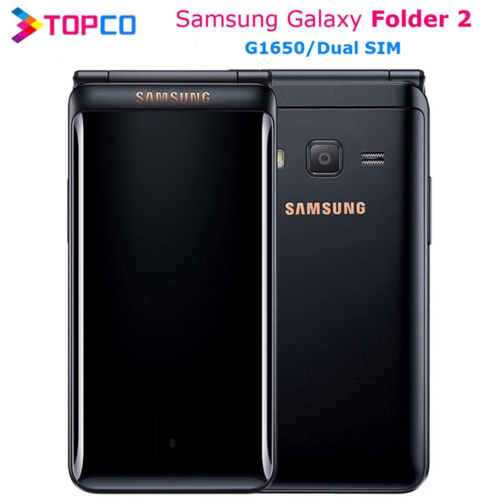 "Originele Samsung Galaxy Map 2 G1650 Dual Sim 16 Gb Rom 2 Gb Ram Quad Core 8.0MP 3.8 ""Flip smartphone 4G Lte Mobiele Telefoon"