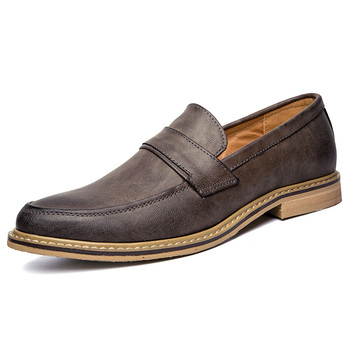 Fashion Leather Formal Business Shoes Men Comfortable Flats Casual Men Shoes Shallow Solid Dress Loafers Men Footwear HV-042