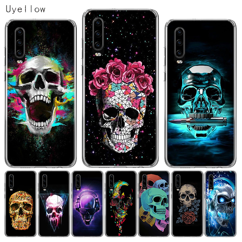 Uyellow Silicone Soft Phone Case For Huawei P10 P20 P30 Lite Pro Hawei Mate 10 20 lite P Smart Plus 2019 Neon Skull Cover