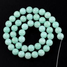 Natural Gem Smooth Amazonite Round Stone Beads For Jewelry Making 4mm-12mm Loose Spacer Diy Bracelet Necklace 15