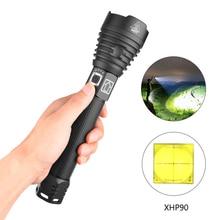 새로운 패턴 xhp90 가장 강력한 led 토치 led 손전등 xhp50 충전식 usb 핸드 램프 18650 26650 전술 플래시 라이트 # ND