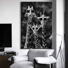 Giraffes with Sunglasses Funny Art Posters And Prints Black And White Animals Canvas Paintings on the Wall Art Pictures Cuadros