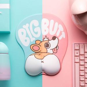 Image 2 - 귀여운 코기 개 3d 마우스 패드 인체 공학적 소프트 실리콘 젤 애니메이션 마우스 패드 손목 지원 마우스 매트 소녀 선물
